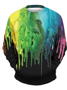 3D Colorful Painting Men Sweater Round Neck Cool Hoodies Black