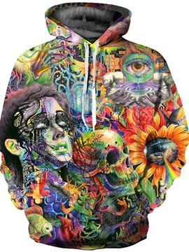 3D Mask Girl Skull Floral Sweater Long Sleeve Cool Hoodies