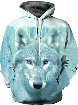 Long Sleeve Blue Wolf Pattern 3D Painted Hoodie