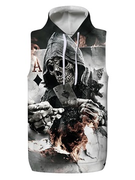 3D Skull with Fire Poker Sleeveless Pullover Hooded Men Fashion T-shirt