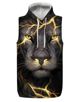 3D Lion with Light Sleeveless Pullover Hooded Men Fashion T-shirt