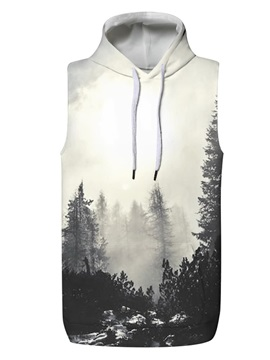 3D Forest Cloud Sleeveless Pullover Hooded Men Fashion T-shirt