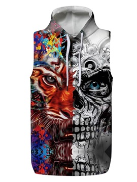 3D Skull and Tiger Pullover Hooded Men Fashion T-shirt