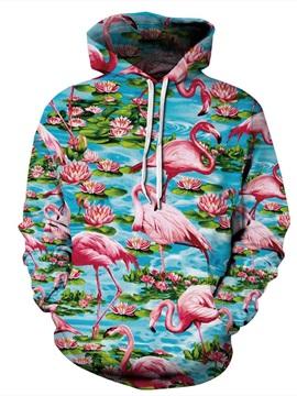 Long Sleeve Flamingo and Lotus Pattern 3D Painted Hoodie