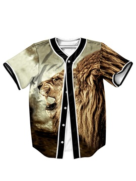 Exquisite Printing Roaring Lion For Man Short Sleeve Shirt