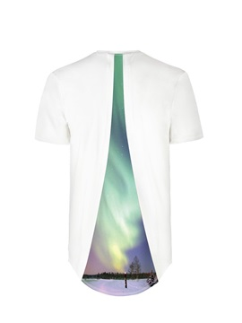 Green Polar Lights Back Of Clothe 3D Painted T-Shirt