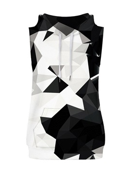 Monochrome Geometric Block Sleeveless Pullover Hooded Men Fashion T-shirt