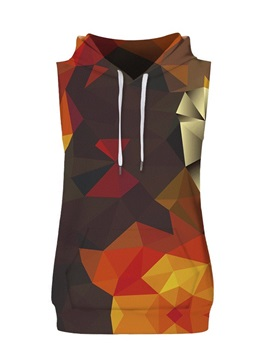Colorful Geometric Block Sleeveless Pullover Hooded Men Fashion T-shirt