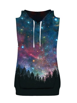 Forest Starry Sky Sleeveless Pullover Hooded Men Fashion T-shirt