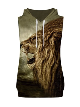 3D Lifelike Lion Sleeveless Pullover Hooded Men Fashion T-shirt