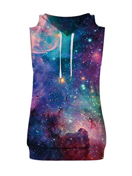 3D Starry Sky Colorful Sleeveless Pullover Hooded Men Fashion T-shirt