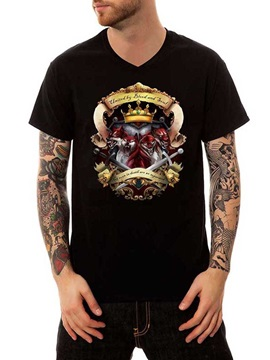 Black Cotton Summer Fox and Swords Comfortable Casual Men's Funny T-Shirts V Neck Top Tee Gift 3D Painted T-Shirt