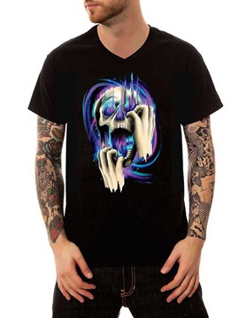 Stylish Black Cotton Summer Mad Skull Casual Men's Funny T-Shirts V Neck Top Tee Gift 3D Painted T-Shirt