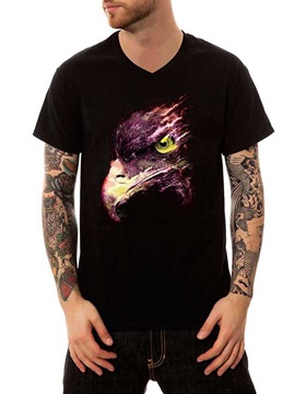 Casual Men's Black Eagle 100% Cotton Summer Funny T-Shirts V Neck Top Tee Gift 3D Painted T-Shirt