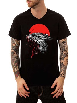 Men Black Animal Leopard Cotton Summer Casual Funny T-Shirts V Neck Top Tee Gift 3D Painted T-Shirt
