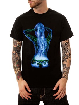 New Men's Funny T-Shirts Round Neck Top Tee Gift Black Cotton Summer Waterfall Nature Casual 3D Painted T-Shirt