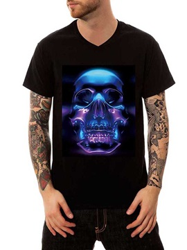 Men's Fluorescent Skull Black Cotton Summer Casual Funny T-Shirts V Neck Top Tee Gift 3D Painted T-Shirt