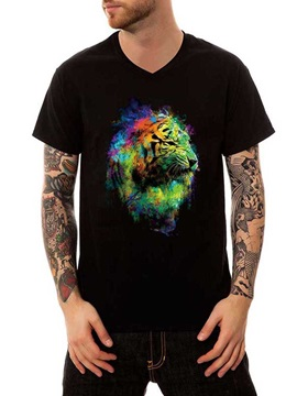 Colorful Tiger Casual Black Cotton Summer Men's Funny T-Shirts V Neck Top Tee Gift 3D Painted T-Shirt