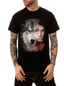 Fashion Casual Cotton Round Neck Summer Wolf and Girl Men's Funny T-Shirts Top Tee Gift 3D Painted T-Shirt