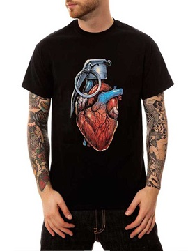 Black Round Neck Heart 100% Cotton Summer Casual Men's Funny T-Shirts Top Tee Gift 3D Painted T-Shirt