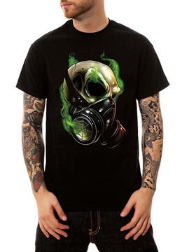 Black Summer Casual Cotton Gas Mask Men's Funny T-Shirts Round Neck Top Tee Gift 3D Painted T-Shirt