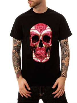 Men's Skull Summer Cotton Casual Funny T-Shirts Round Neck Top Tee Tops 3D Painted T-Shirt