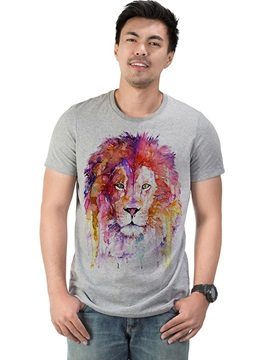 Oil Painting Lion Cotton Men's Funny T-Shirts Casual Round Neck Top Tee Gift 3D Painted T-Shirt