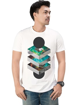 Geometric Casual Men's Funny Fashion T-Shirts Round Neck Top Tee Gift 100% Cotton 3D Painted T-Shirt