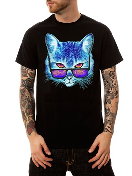 Casual Men's Shirt Funny T-Shirts Animal Cat Wearing Glasses Round Neck Top Tee 3D Painted T-Shirt