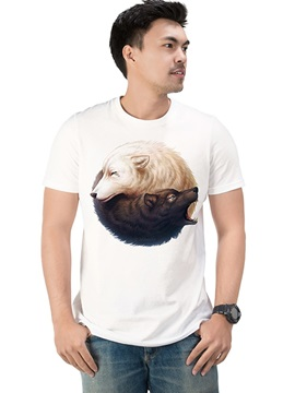 Animal Fox Casual Cotton Short Sleeve Men's tops Funny T-Shirts Round Neck Top Tee 3D Painted T-Shirt