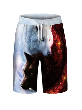 Wolves Pattern Polyester Material Loose Model 3D Embellishment Beach Shorts