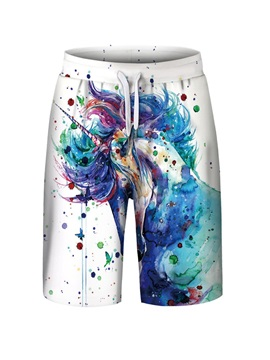 Unicorn Pattern Polyester Material Elastics Closure Type Beach Shorts