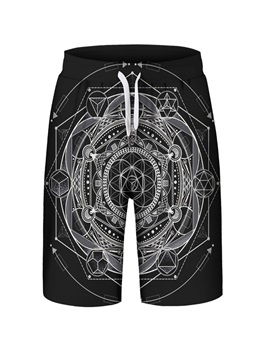 Geometric Pattern Polyester Material Loose Model 3D Embellishment Beach Shorts