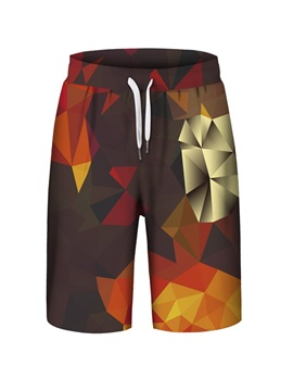 Color Block Polyester Material Loose Model 3D Embellishment Beach Shorts