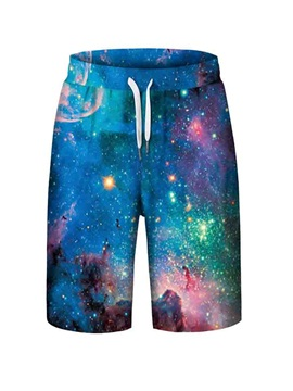 Galaxy Pattern Elastics Closure Type Polyester Material Beach Shorts