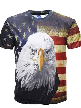 American Style Round Neck Men 3D Eagle Graphic Print Short Sleeve Tee T-Shirt