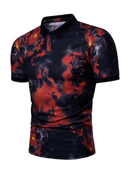 Polo Neck Cotton Blends Men Short Sleeve 3D T-Shirt