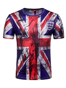UK Flag Round Neck Men Short Sleeve 3D T-Shirt