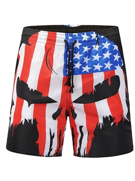 American Flag Pattern Loose Model Polyester Material 3D Beach Shorts