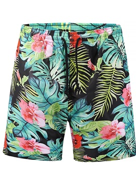 Plants Pattern Multi-color Style Loose Model Polyester Material 3D Beach Shorts