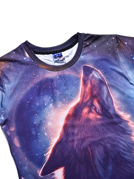 Stars&Wolf Pattern Straight Model European Style Polyester Material T-shirt