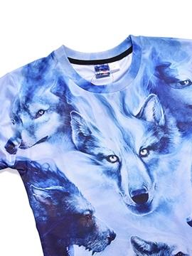 Wolf Pattern Short Sleeve Polyester Material Straight Model Summer Season T-shirt