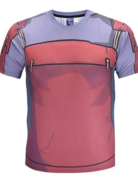 Cartoon Pattern Moderate Elasticity Straight Model Standard Length T-shirt