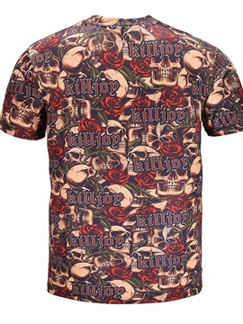 Skulls Roses Pattern Polyester Material Straight Model Moderate Elasticity T-shirt