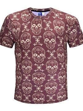 Skulls Pattern Polyester Material Regular Sleeve Type Straight Model T-shirt