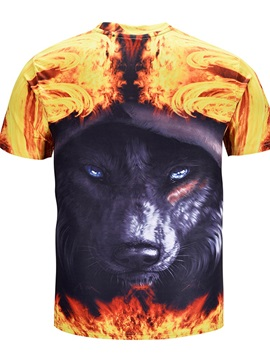 Wolf Pattern Polyester Material Straight Model Standard Length T-shirt
