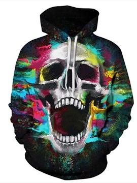 Long Sleeve Colorful Skull Pattern 3D Painted Hoodie