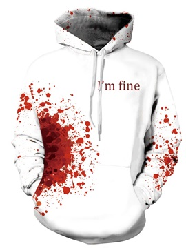 White Long Sleeve Crazy Bloody Pattern 3D Painted Hoodie