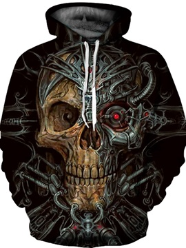Popular Long Sleeve Mechanical Skull Pattern 3D Painted Hoodie