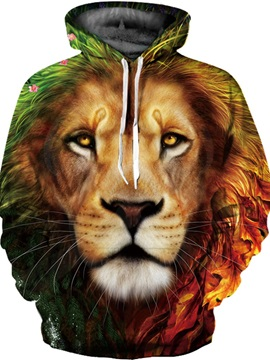 Lion Face Kangaroo Pocket Workout Realistic Drawstring 3D Painted Hoodie